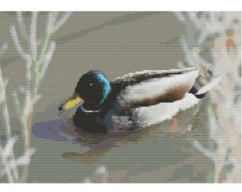 Mallard In Cold Pond, bead pattern for loom or peyote