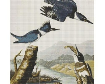Belted Kingfisher Family, pattern for loom or peyote