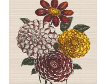 Antique Flower 3, bead pattern for loom or peyote