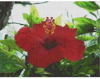 Hibiscus, A Jewel, bead pattern for loom or peyote