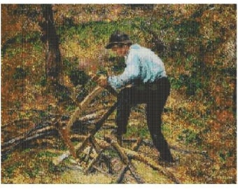 The Woodcutter by Camille Pissaro, pattern for loom or peyote