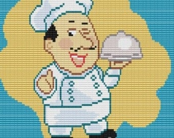 Smiling Chef, bead pattern for loom or square stitch