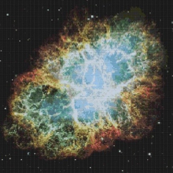 Hubble Mosiac Of The Crab Nebula, pattern for loom or peyote