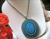 VtG 1970's HUGE Faux Turquoise Pendant Necklace