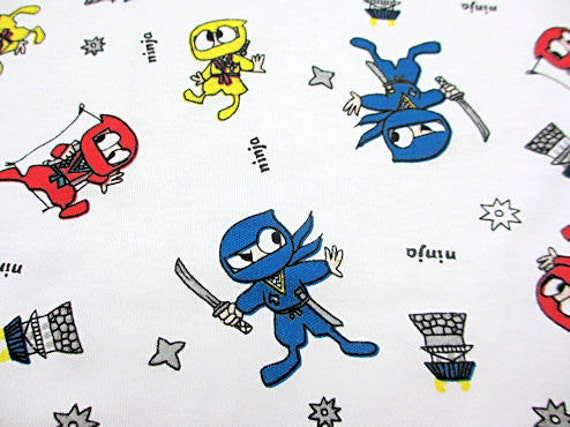 Boutique HTF NINJA Interlock Knit Cotton Children Fabric on White Boys Cartoon 1Yd