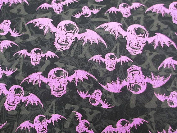 "HALLOWEEN BATS purple on black cotton knit fabric 42"" x 60"""