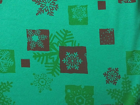 Winter Christmas Snowflakes on Light Forest Green Cotton Rib Knit Fabric 1 yd