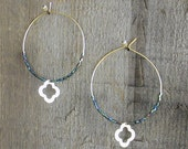 Hoop Earrings with a gold clover