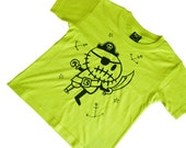 3 to 4 yrs - Lime Green Zombie Pirate kids t-shirt
