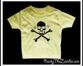 0 - 3 months Baby Yellow Skully Shirt  Babies Punk Jolly Roger T-shirt