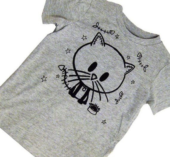 4 to 6 yrs - One Grey Zombie Kitty Cat and Bones tee