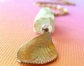Tree Wisdom - Handmade Necklace - Chrysoprase, Moonstone and Vintage Brass
