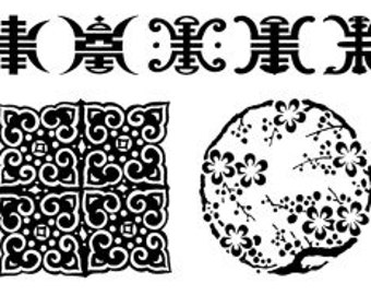 Asian Motif Clear Stamp Sheet Polymer Clay PMC Stamping