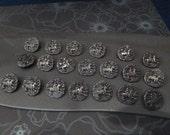30 Vintage Metal Horse Buttons