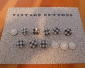 Vintage Black and White Plaid Buttons