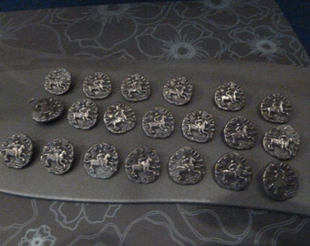 30 Vintage Metal Horse Buttons