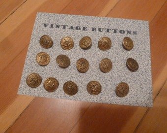 8 Vintage Metal Ship Buttons