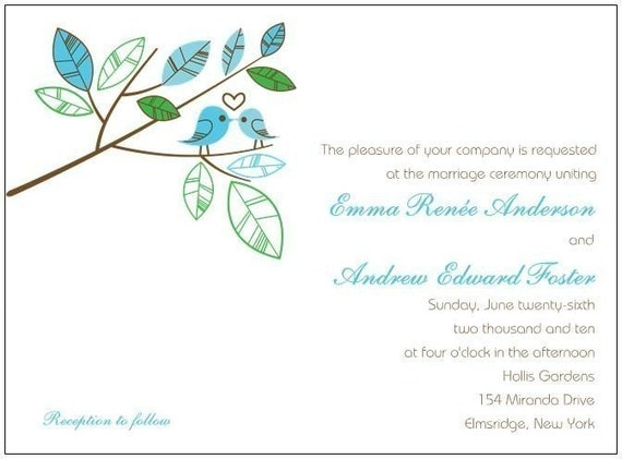 Love Bird Wedding Invitations SN399 (Sample Set)