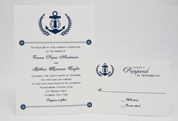 Nautical Wedding Invitation - Navy, Anchor, Preppy Beach Wedding Invitations