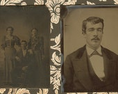 Handsome Gentleman and Group Photo Tintypes Set 2...