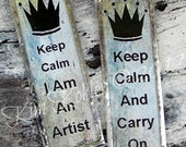 """Veenas Keep Calm And Carry On / I Am An Artist Double Sided Silver Soldered Glass 3"""" Pendant Necklace Mixed Media Folk Art"""