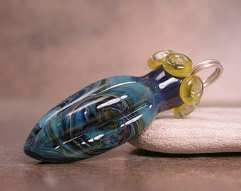 Lampwork Boro Focal Bead Pod Pendant in Deep Blues and Greens Divine Spark Designs SRA LETeam