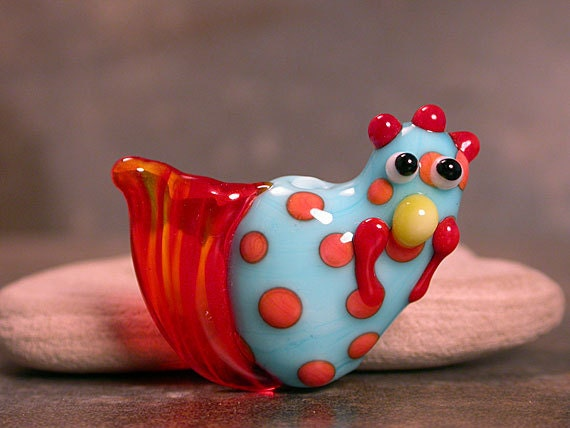 Rooster Chicken Lampwork Focal Bead Turquoise Blue with Orange Polka Dots by Divine Spark Designs SRA LETeam
