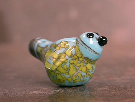 Lampwork Bird Bead in Turquoise with Yellow Freckles by Jenny Friske-Baer