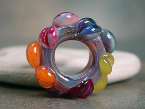 Boro Lampwork Big Hole Bead with Flowers Jenny Friske-Baer