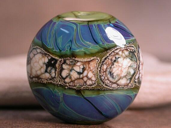 Lampwork Focal Bead Blues Purple Olive Green Silvered Ivory Divine Spark Designs SRA