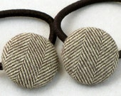 Brown Herringbone ponytail covered button pair