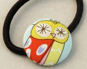 Spotted Owl Pony tail Elastic covered button