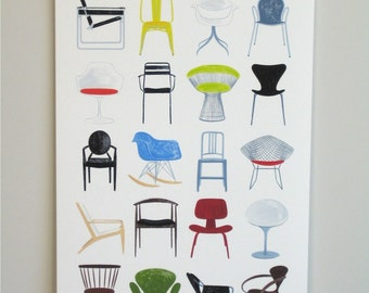 Modern Chairs, 13x19 and 8.5x11, art print, mid century modern