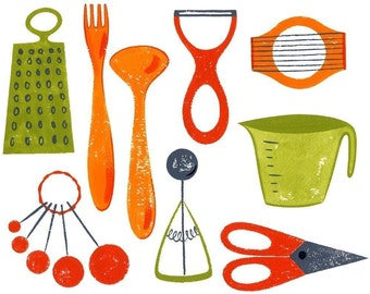 Kitchen Utensils, art print, 8.5x11