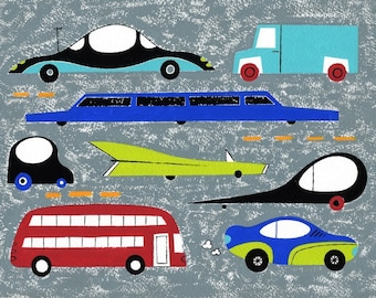 Cars, art print, 13x19 and 8.5x11, kids room wall art, boys room artwork