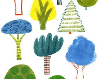 Trees, 8.5x11 art print, kids art, wall art