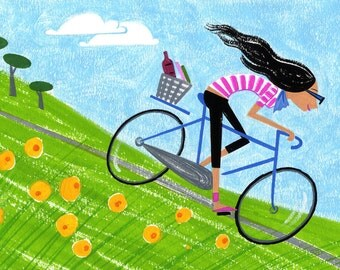 Bike Ride, art print, 8.5x11 print, summertime