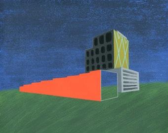 Midnight Landscape, 13x19 and 8.5x11, art print, architecture
