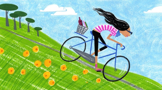 Bike Ride, art print, 8.5x11 print, summertime