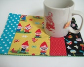 Mug Rug, Big Coaster, Gnomes, Mushrooms, Polka dots. Quilted, Cotton  Handmade 9 x 6.5 inches