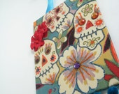 Day of the Dead Sugar Skull Fabric Wall Art  Embellished with roses, rhinestones and pom poms