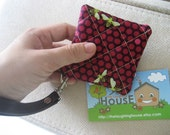 Square Key Holder/Coin Purse w Detachable Wrist Strap (Hives in Raspberry)