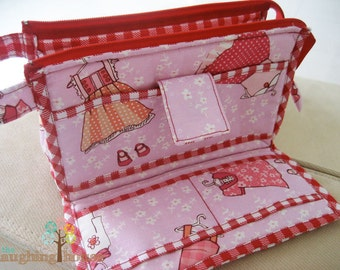 PREMIUM Organizer Clutch Wristlet (Just Stay Little with School Gingham in Red)