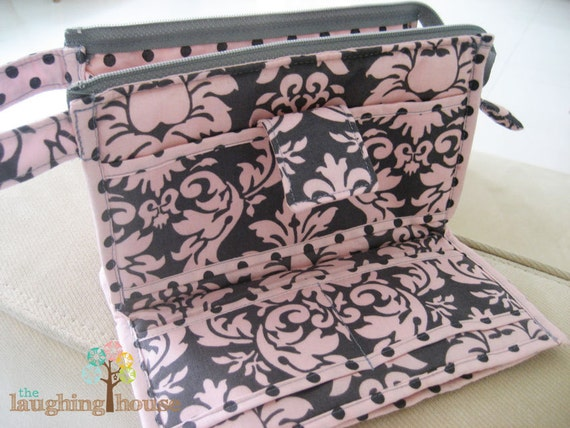 PREMIUM Organizer Clutch Wristlet (Dandy Damask in Bloom with Dumb Dots in Blossom Interior)