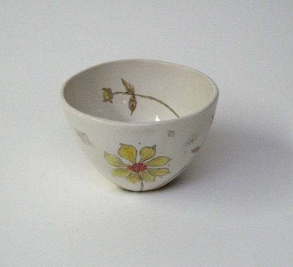 Dahlia Flower Porcelain Bowl