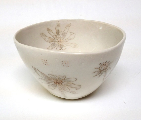Sepia Flower Porcelain Bowl With Black Eyed Susan
