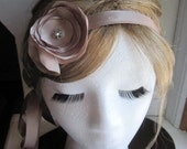 Taupe - Dainty Jane Ribbon with Satin Blossoms and Vintage-Look Swarovski Crystal Finding