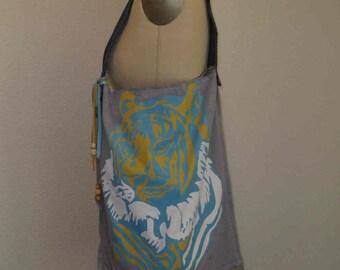 TWO Recycled T shirt Grocery Bags Tote Bag Festival Bag Purse VEGAN Eco Reusable bag