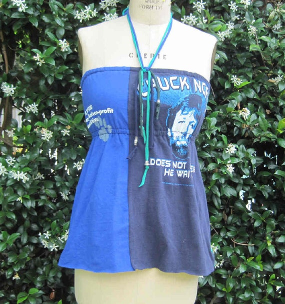 Eco Friendly Reversible TubeTop Halter top size 34 Recycled Tshirts