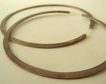 Brass Hoop Earrings - untreated natural patina - Big 3 inch continuous hoops